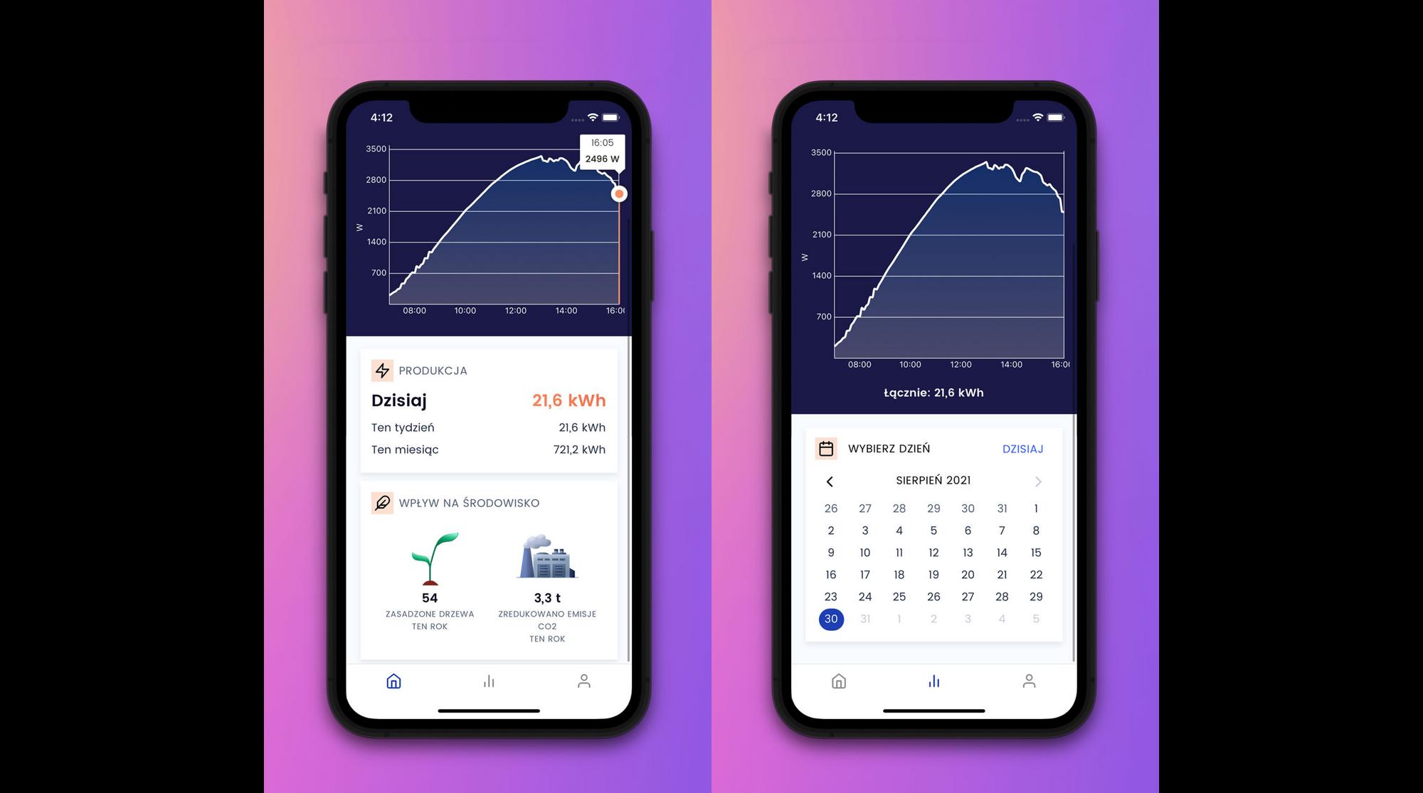 Wygląd ekranu wpływu na środowisko oraz kalendarz w aplikacji Otovo Solar